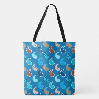 Modernes Paisley-Muster, Cerulean Blau, TAN u. Tasche