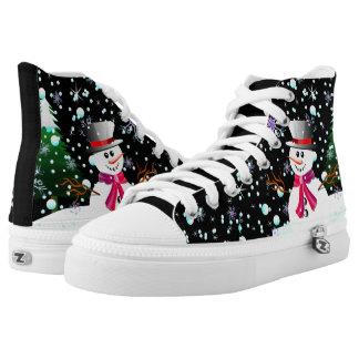 """Modernes Party der Snowman-""""frohen Weihnachten"""" Hoch-geschnittene Sneaker"""