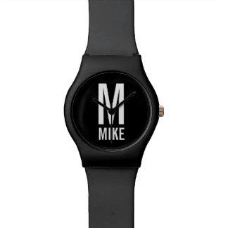 Modernes personalisiertes Monogramm und Name Armbanduhr