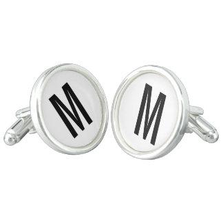 Modernes personalisiertes Monogramm und Name Manschettenknöpfe
