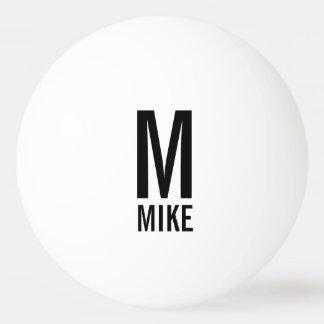 Modernes personalisiertes Monogramm und Name Tischtennis Ball