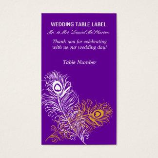 Modernes Pfau-Hochzeits-Goldweiße Federn Visitenkarte