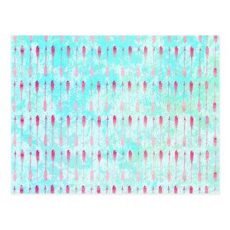Modernes Pfeilmuster des rosa Türkis-Aquarells Postkarte