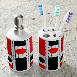 Modernes Quadrat im schwarzen u. roten Seifenspender & Zahnbürstenhalter