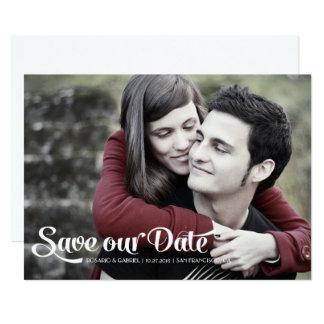 Modernes romantisches Skript-Foto Save the Date 12,7 X 17,8 Cm Einladungskarte