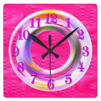 Modernes, rosa metallisches, Neon, einzigartig, Quadratische Wanduhr