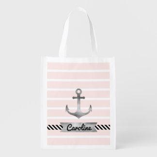 Modernes Rosa Stripes den personalisierten Wiederverwendbare Einkaufstasche