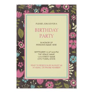 Modernes rosa u. blaues Blumengeburtstags-Party 12,7 X 17,8 Cm Einladungskarte