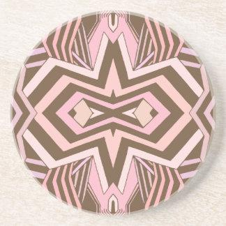 Modernes Rosa u. Brown geometrisch Sandstein Untersetzer