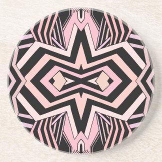 Modernes rosa und schwarzes geometrisches sandstein untersetzer