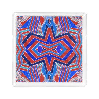 Modernes rotes und blaues geometrisches acryl tablett