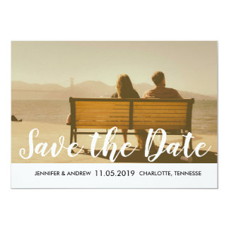 Modernes Save the Date Typografie-Grau Stripes Karte