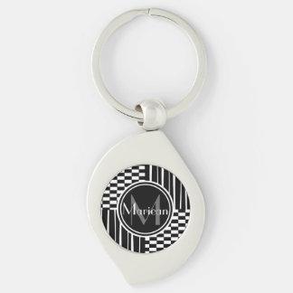 Modernes Schwarz-weißes Streifen-Karomonogramm Schlüsselanhänger
