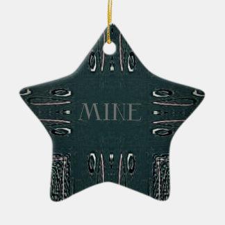 "Modernes schwarzes graues ""Bergwerk"" Goth Muster Keramik Stern-Ornament"