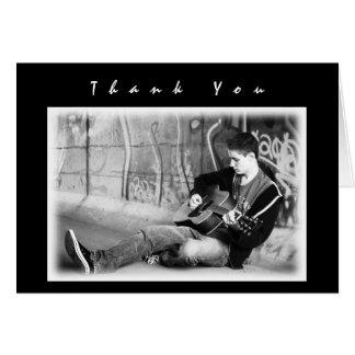 Modernes schwarzes Jungen-Foto danken Ihnen Mitteilungskarte