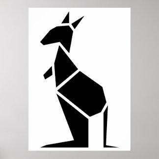 Modernes schwarzes Kängurusymbol Poster
