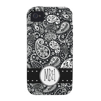 Modernes schwarzes Paisley mit Personifizierung Vibe iPhone 4 Hülle