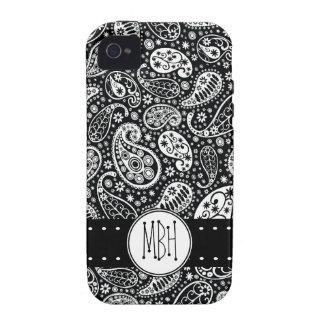 Modernes schwarzes Paisley mit Personifizierung iPhone 4/4S Hüllen