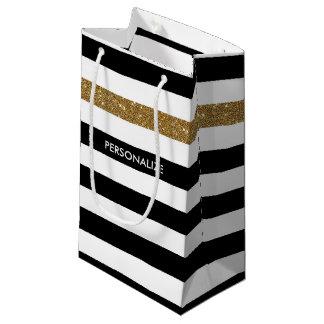 Modernes Schwarzes Stripes IMITAT GoldGlitz und Kleine Geschenktüte