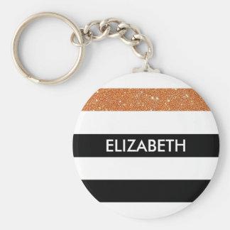 Modernes Schwarzes Stripes IMITAT orange Glitz und Standard Runder Schlüsselanhänger