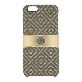 Modernes Schwarzes u. GoldGeeky geometrischer Durchsichtige iPhone 6/6S Hülle