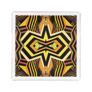 Modernes schwarzes und gelbes geometrisches acryl tablett