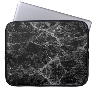 Modernes Schwarzweiss-Imitat-Marmormuster Laptopschutzhülle