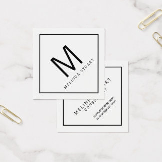 Modernes Schwarzweiss-Monogramm Quadratische Visitenkarte
