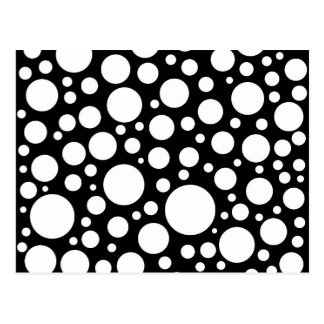 Modernes Schwarzweiss-Tupfen-Muster Postkarte