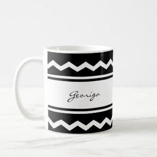 Modernes, Schwarzweiss-Zickzack Kaffeetasse