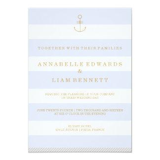 Modernes Seestreifen weddingi 12,7 X 17,8 Cm Einladungskarte