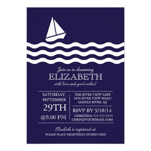 Modernes Segelboot-SeeBabyparty-Einladung