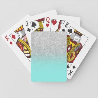 Modernes silbernes Glitter ombre aquamariner Ozean Spielkarten