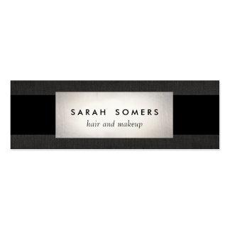 Modernes silbernes schwarzes Leinen-gestreiftes Visitenkartenvorlage