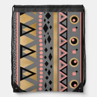 modernes Stammes- aztekisches geometrisches Muster Sportbeutel