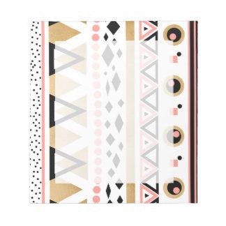 modernes Stammes- aztekisches Goldgeometrisches Notizblock