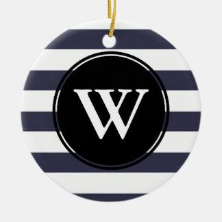 Modernes starkes Weiß Stripes mit Monogramm Foto Keramik Ornament