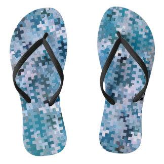 Modernes stilvolles blaues Muster Flip Flops