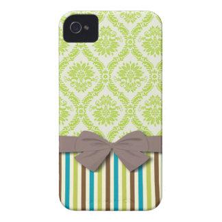 modernes Streifenmuster Limonen grünen ecru Damast iPhone 4 Hülle