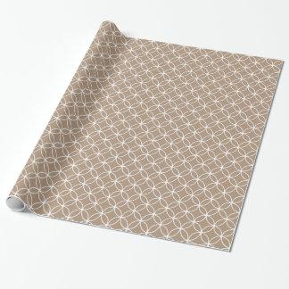 Modernes TAN und weißes Kreis-Diamant-Muster Geschenkpapier