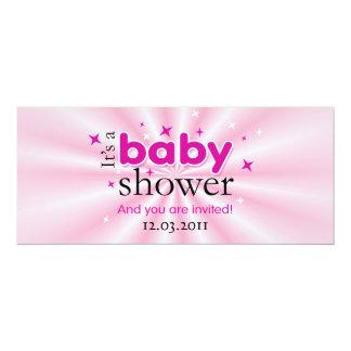 Modernes Text-Rosa hat lustiges Baby-Duschen-Party 10,2 X 23,5 Cm Einladungskarte