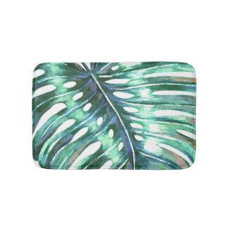 Modernes tropisches grünen monstera Palmblattes Badematte