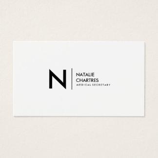 Modernes unbedeutendes Monogramm-berufliches Weiß Visitenkarte