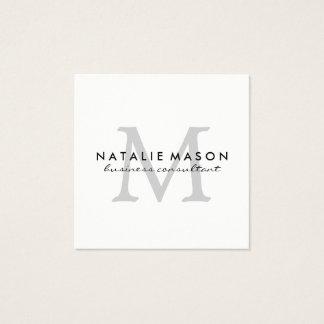 Modernes unbedeutendes Monogramm-Grau auf Weiß Quadratische Visitenkarte