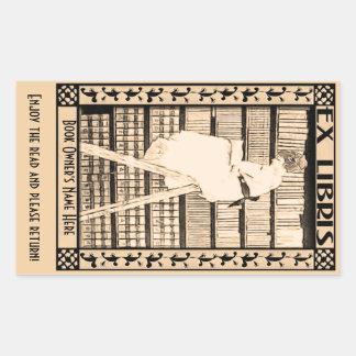 Modernes Vintages Buchzeichen v1 personalisiert Rechteckiger Aufkleber