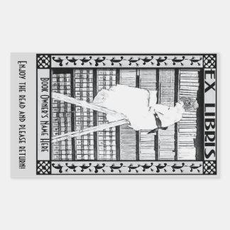 Modernes Vintages Buchzeichen v3 PERSONALISIERT Rechteckiger Aufkleber