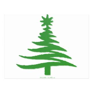 Modernes Weihnachtsbaum-Schablonen-Druck-Grün Postkarte