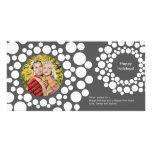 Modernes Weihnachtswreath-Foto-Karte-Dunkles Grau Photo Karten