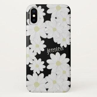 Modernes weißes Gänseblümchen-Schwarzes iPhone X Hülle