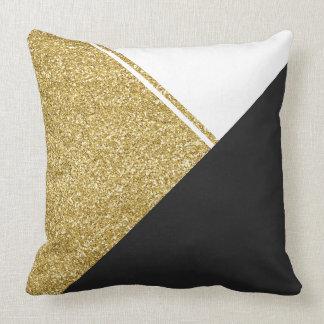 Modernes weißes Goldschwarzdreieck Kissen